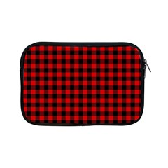 Lumberjack Plaid Fabric Pattern Red Black Apple Ipad Mini Zipper Cases by EDDArt