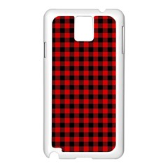 Lumberjack Plaid Fabric Pattern Red Black Samsung Galaxy Note 3 N9005 Case (White)