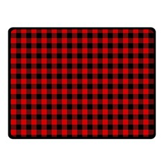 Lumberjack Plaid Fabric Pattern Red Black Double Sided Fleece Blanket (Small)