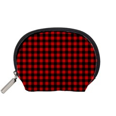 Lumberjack Plaid Fabric Pattern Red Black Accessory Pouches (small)  by EDDArt
