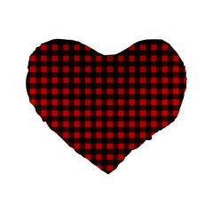 Lumberjack Plaid Fabric Pattern Red Black Standard 16  Premium Flano Heart Shape Cushions by EDDArt