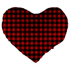 Lumberjack Plaid Fabric Pattern Red Black Large 19  Premium Flano Heart Shape Cushions by EDDArt