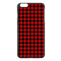 Lumberjack Plaid Fabric Pattern Red Black Apple Iphone 6 Plus/6s Plus Black Enamel Case by EDDArt
