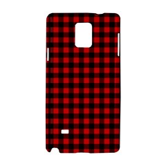 Lumberjack Plaid Fabric Pattern Red Black Samsung Galaxy Note 4 Hardshell Case by EDDArt