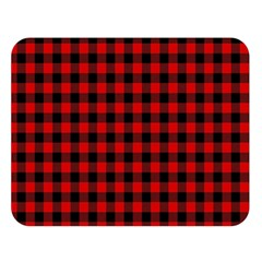 Lumberjack Plaid Fabric Pattern Red Black Double Sided Flano Blanket (Large)