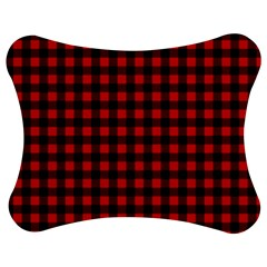 Lumberjack Plaid Fabric Pattern Red Black Jigsaw Puzzle Photo Stand (bow) by EDDArt