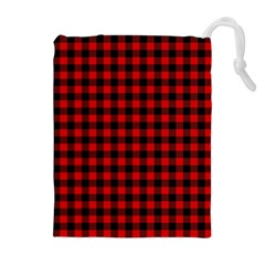 Lumberjack Plaid Fabric Pattern Red Black Drawstring Pouches (Extra Large)