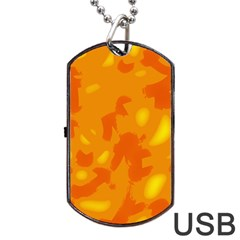 Orange Decor Dog Tag Usb Flash (one Side) by Valentinaart