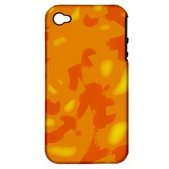 Orange Decor Apple Iphone 4/4s Hardshell Case (pc+silicone) by Valentinaart