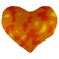 Orange Decor Large 19  Premium Flano Heart Shape Cushions by Valentinaart