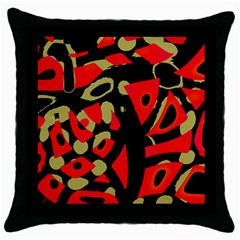 Red Artistic Design Throw Pillow Case (black) by Valentinaart