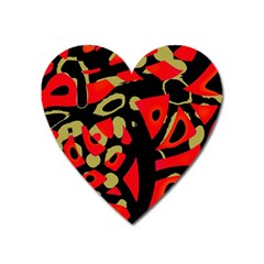 Red Artistic Design Heart Magnet by Valentinaart