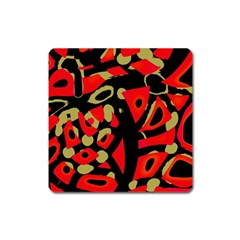 Red Artistic Design Square Magnet by Valentinaart