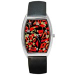 Red artistic design Barrel Style Metal Watch Front