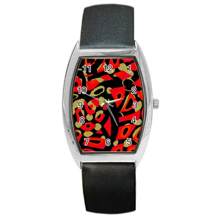 Red artistic design Barrel Style Metal Watch