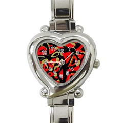 Red Artistic Design Heart Italian Charm Watch by Valentinaart