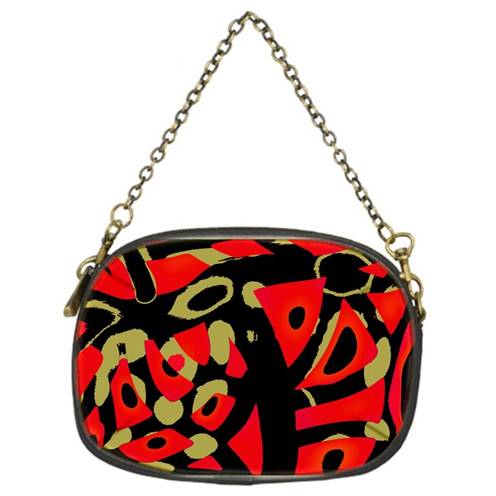 Red artistic design Chain Purses (One Side)