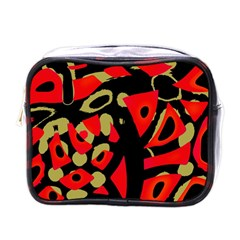 Red Artistic Design Mini Toiletries Bags by Valentinaart