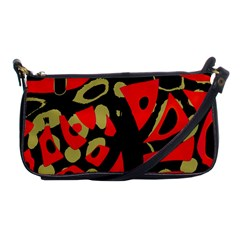 Red Artistic Design Shoulder Clutch Bags by Valentinaart