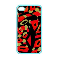 Red Artistic Design Apple Iphone 4 Case (color) by Valentinaart