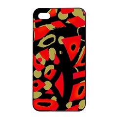 Red Artistic Design Apple Iphone 4/4s Seamless Case (black) by Valentinaart