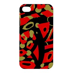 Red Artistic Design Apple Iphone 4/4s Premium Hardshell Case by Valentinaart