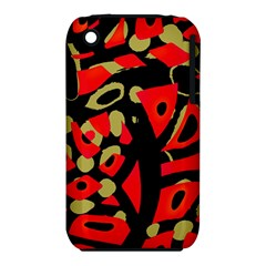 Red Artistic Design Apple Iphone 3g/3gs Hardshell Case (pc+silicone) by Valentinaart