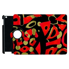 Red Artistic Design Apple Ipad 2 Flip 360 Case