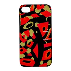 Red Artistic Design Apple Iphone 4/4s Hardshell Case With Stand by Valentinaart