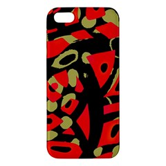 Red Artistic Design Apple Iphone 5 Premium Hardshell Case by Valentinaart