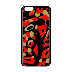 Red Artistic Design Apple Iphone 6/6s Black Enamel Case by Valentinaart