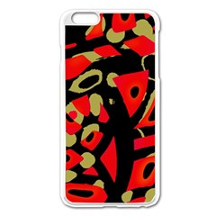 Red Artistic Design Apple Iphone 6 Plus/6s Plus Enamel White Case by Valentinaart