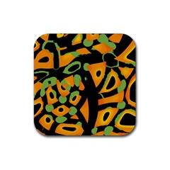 Abstract Animal Print Rubber Square Coaster (4 Pack)  by Valentinaart