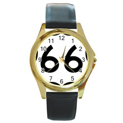 U.S. Route 66 Round Gold Metal Watch