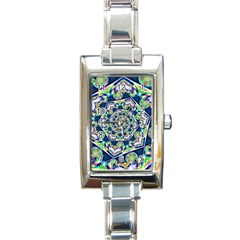 Power Spiral Polygon Blue Green White Rectangle Italian Charm Watch by EDDArt