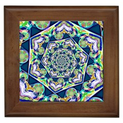 Power Spiral Polygon Blue Green White Framed Tiles by EDDArt