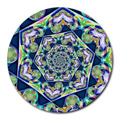 Power Spiral Polygon Blue Green White Round Mousepads by EDDArt
