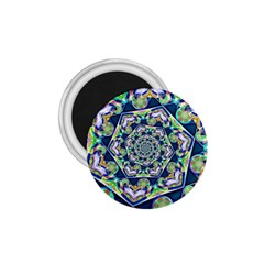 Power Spiral Polygon Blue Green White 1 75  Magnets by EDDArt