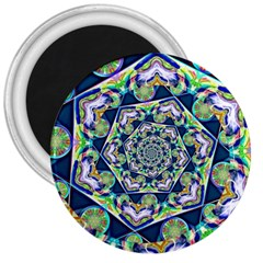 Power Spiral Polygon Blue Green White 3  Magnets by EDDArt