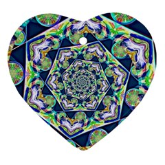 Power Spiral Polygon Blue Green White Ornament (heart)  by EDDArt
