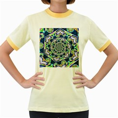 Power Spiral Polygon Blue Green White Women s Fitted Ringer T Shirts by EDDArt