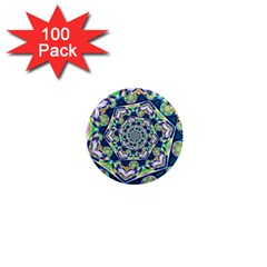 Power Spiral Polygon Blue Green White 1  Mini Magnets (100 Pack)  by EDDArt