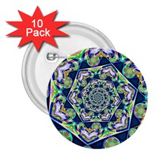 Power Spiral Polygon Blue Green White 2 25  Buttons (10 Pack)  by EDDArt