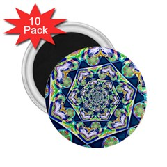Power Spiral Polygon Blue Green White 2 25  Magnets (10 Pack)  by EDDArt