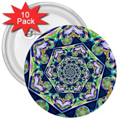 Power Spiral Polygon Blue Green White 3  Buttons (10 Pack)  by EDDArt