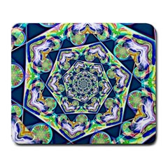 Power Spiral Polygon Blue Green White Large Mousepads by EDDArt