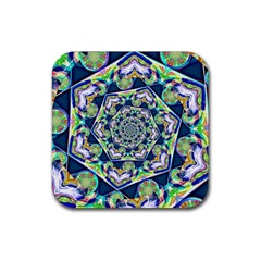 Power Spiral Polygon Blue Green White Rubber Square Coaster (4 Pack)  by EDDArt