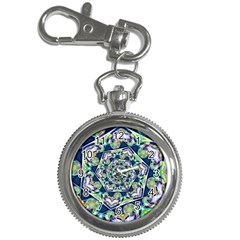 Power Spiral Polygon Blue Green White Key Chain Watches by EDDArt
