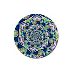 Power Spiral Polygon Blue Green White Rubber Coaster (round)  by EDDArt