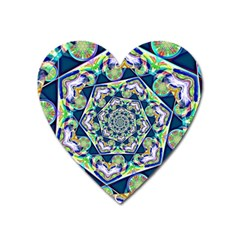 Power Spiral Polygon Blue Green White Heart Magnet by EDDArt